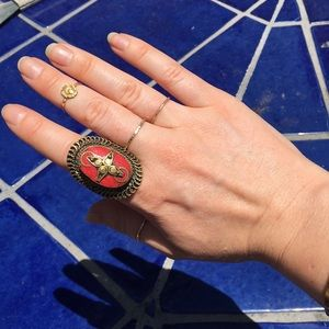 Jewelry - 🍒Bronze and Coral Boho Ring
